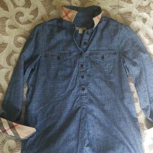 BURBERRY BRIT Check Cuff Denim Shirt, SP